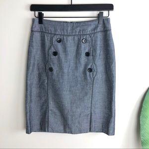 CIDRA by ANTHROPOLOGIE Blue Denim Button Skirt